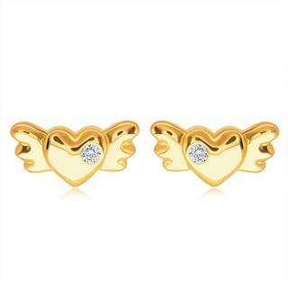 Puzetové zlaté 14K náušnice - plné symetrické srdiečko s krídlami a čírym zirkónom