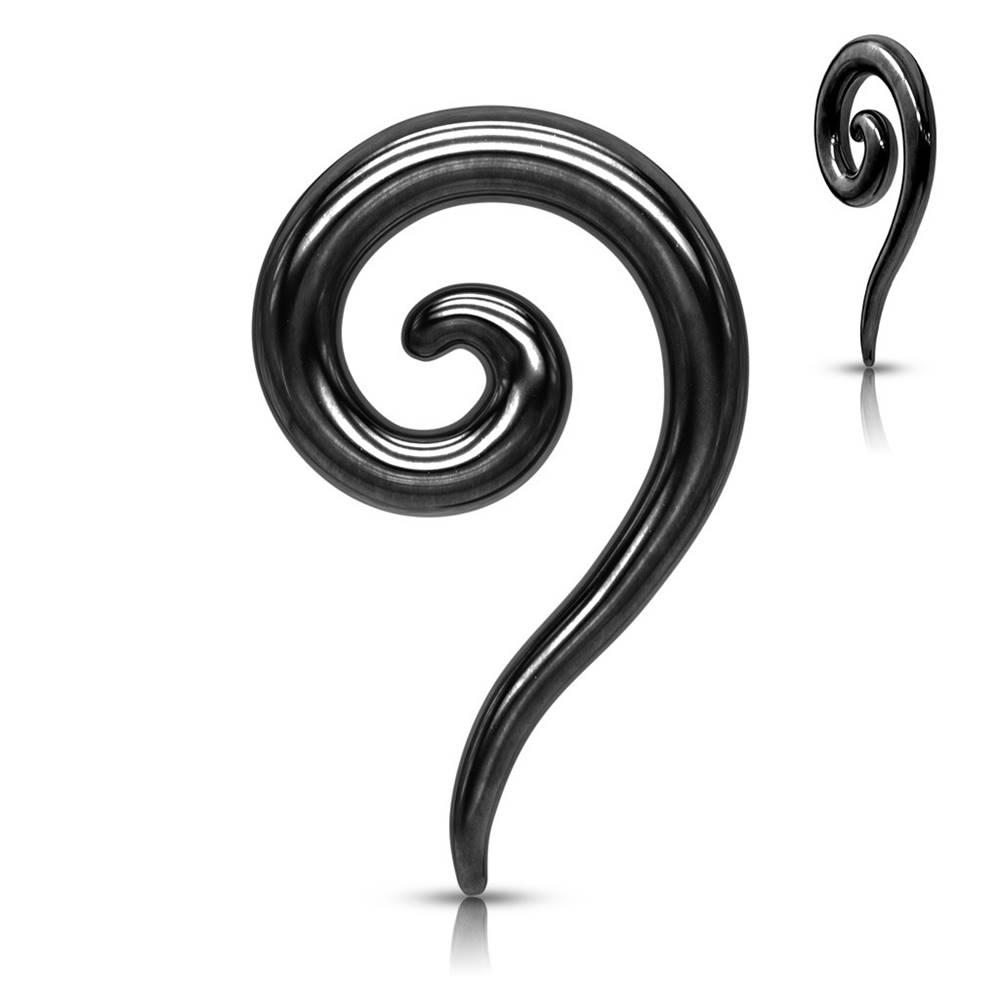 Šperky eshop Expander z ocele do ucha v čiernom farebnom odtieni - hladká zatočená špirála - Hrúbka piercingu: 2 mm