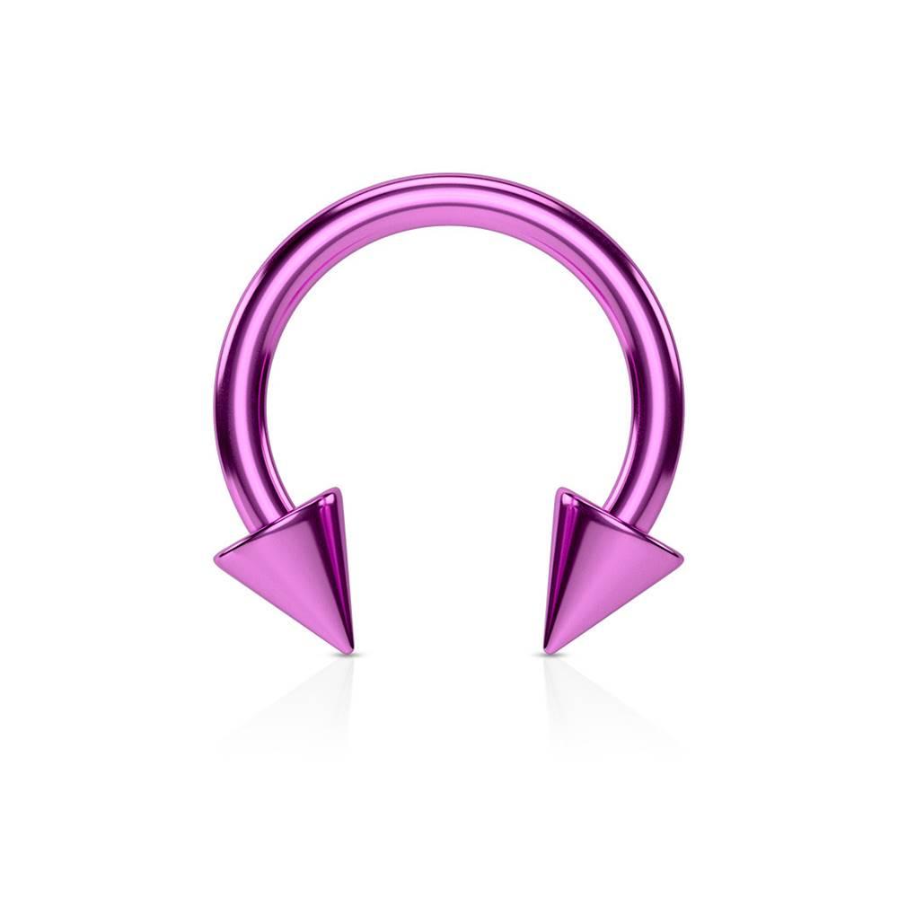 Šperky eshop Piercing do nosa z ocele s titánovou úpravou - lesklá podkova vo fialovom farebnom odtieni - Rozmer: 1,2 mm x 8 mm x 3x3 mm