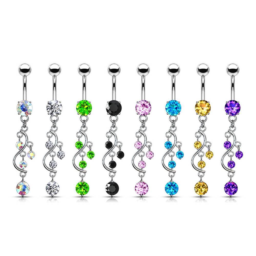 Šperky eshop Piercing do pupku z ocele - zirkón v kotlíku a zvlnená kontúra zdobená visiacimi zirkónmi - Farba zirkónu: Aqua modrá - Q
