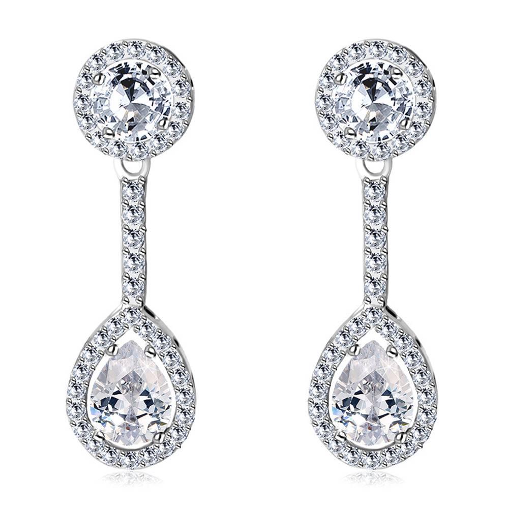Šperky eshop Puzetové náušnice v 14K zlate - zirkónový kruh a slzička ohraničené trblietavou kontúrou