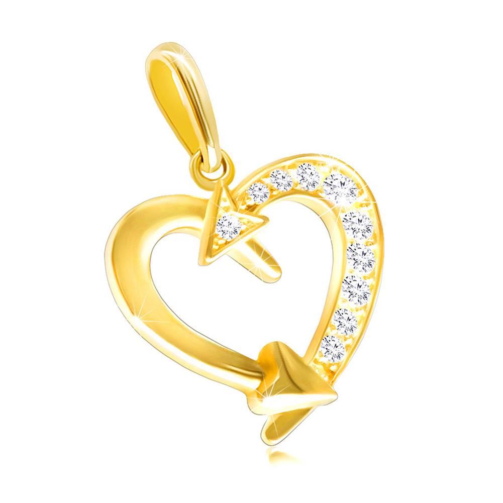 Šperky eshop Zlatý prívesok 585 - kontúra srdca zdobená šípmi a zirkónikmi čírej farby