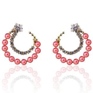 Náušnice Pearly Moon-Ružová