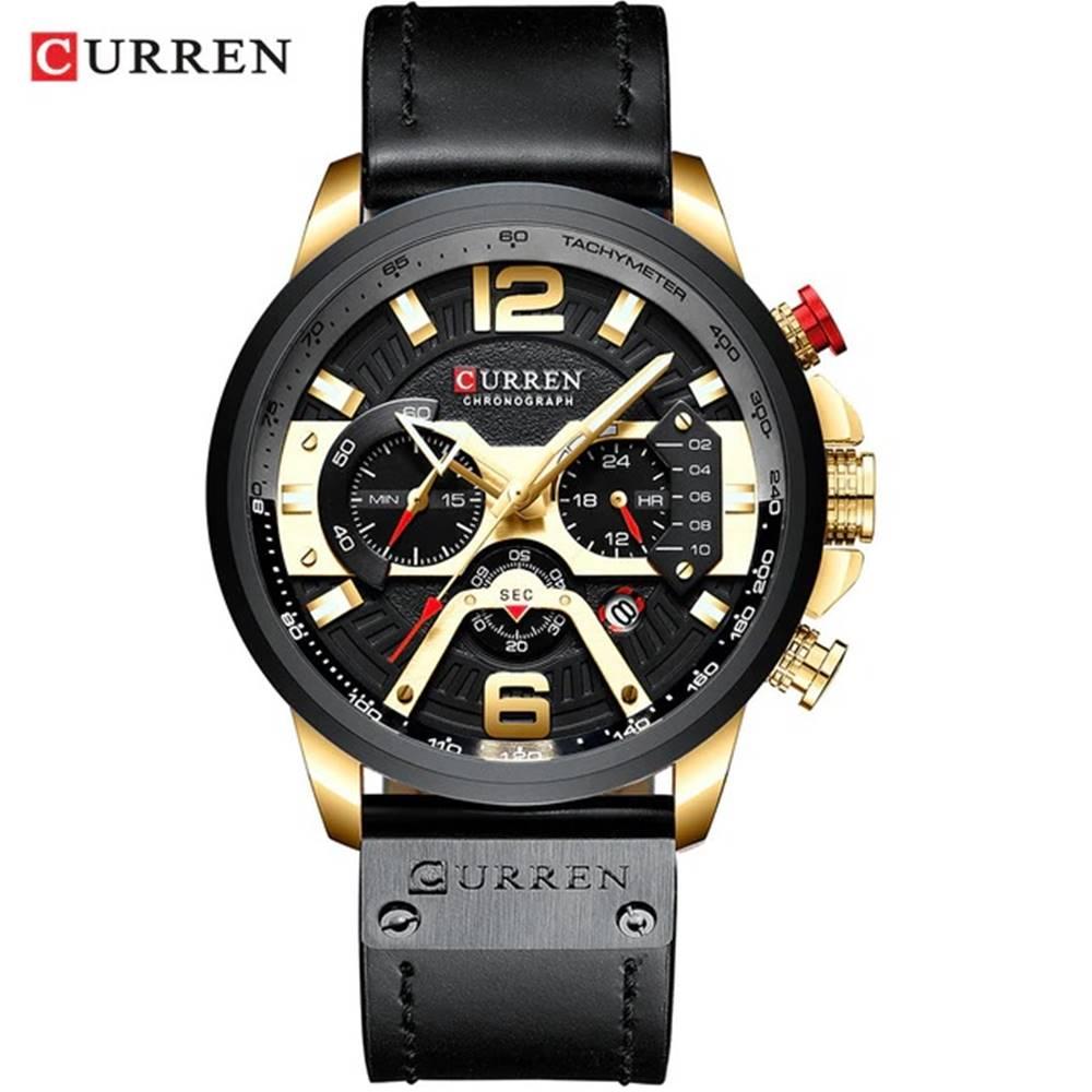Izmael Hodinky Luxury CURREN-Čierna/Zlatá