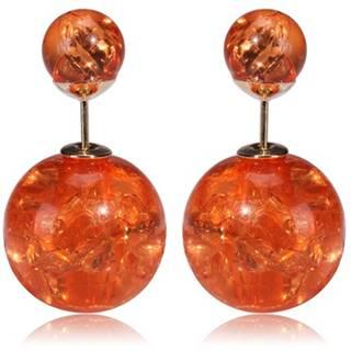Náušnice Double Bead - Oranžová kryštálová