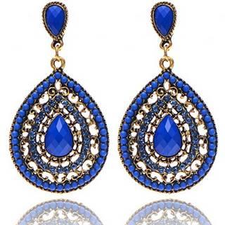 Náušnice Drop Vintage Crystal - Modrá