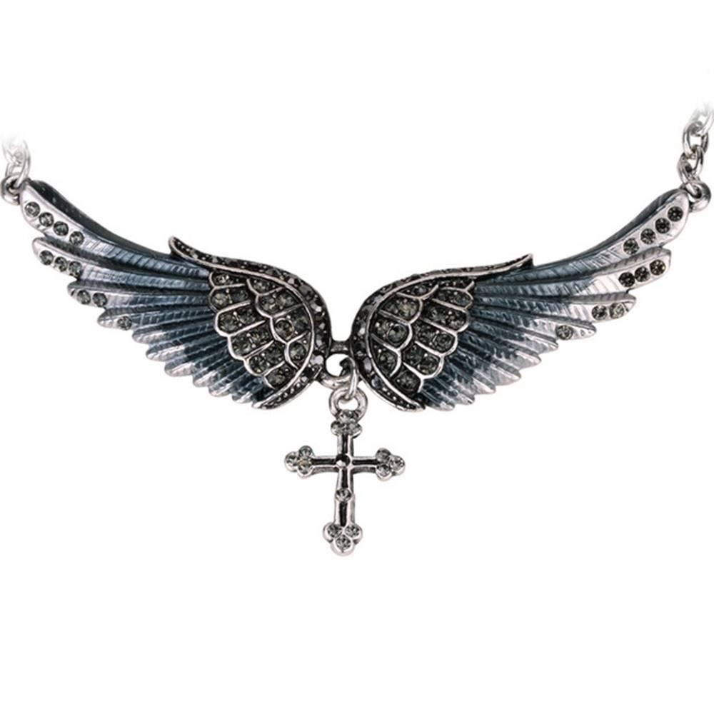 Izmael Náhrdelník Angel Cross-Čierna