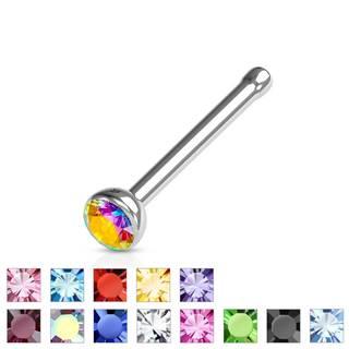 Piercing do nosa rovný, oceľ 316L, trblietavý farebný zirkón - Hrúbka piercingu: 0,8 mm, Farba zirkónu: Ružová - P