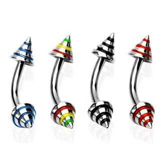 Piercing do obočia s troma farebnými pásmi - Rozmer: 8 mm x 4x3 mm, Farba zirkónu: Čierna - K