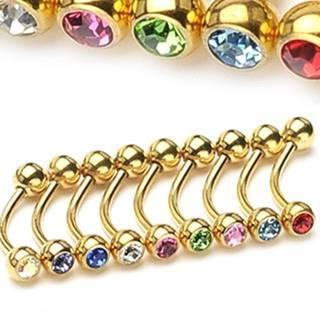 Piercing do obočia - zlatá farba so zirkónikmi - Rozmer: 1,2 mm x 10 mm x 4 mm, Farba zirkónu: Svetlo zelená - G