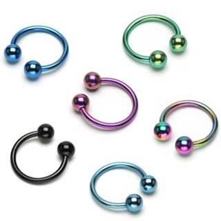 Piercing podkova s dvoma guličkami z anodizovaného titánu - Hrúbka piercingu: 1,2 mm, Farba zirkónu: Svetlo modrá - LB