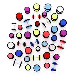 Žiariaci falošný piercing do ucha s gumičkami - Veľkosť hlavičky: 10 mm, Farba piercing: Ružová