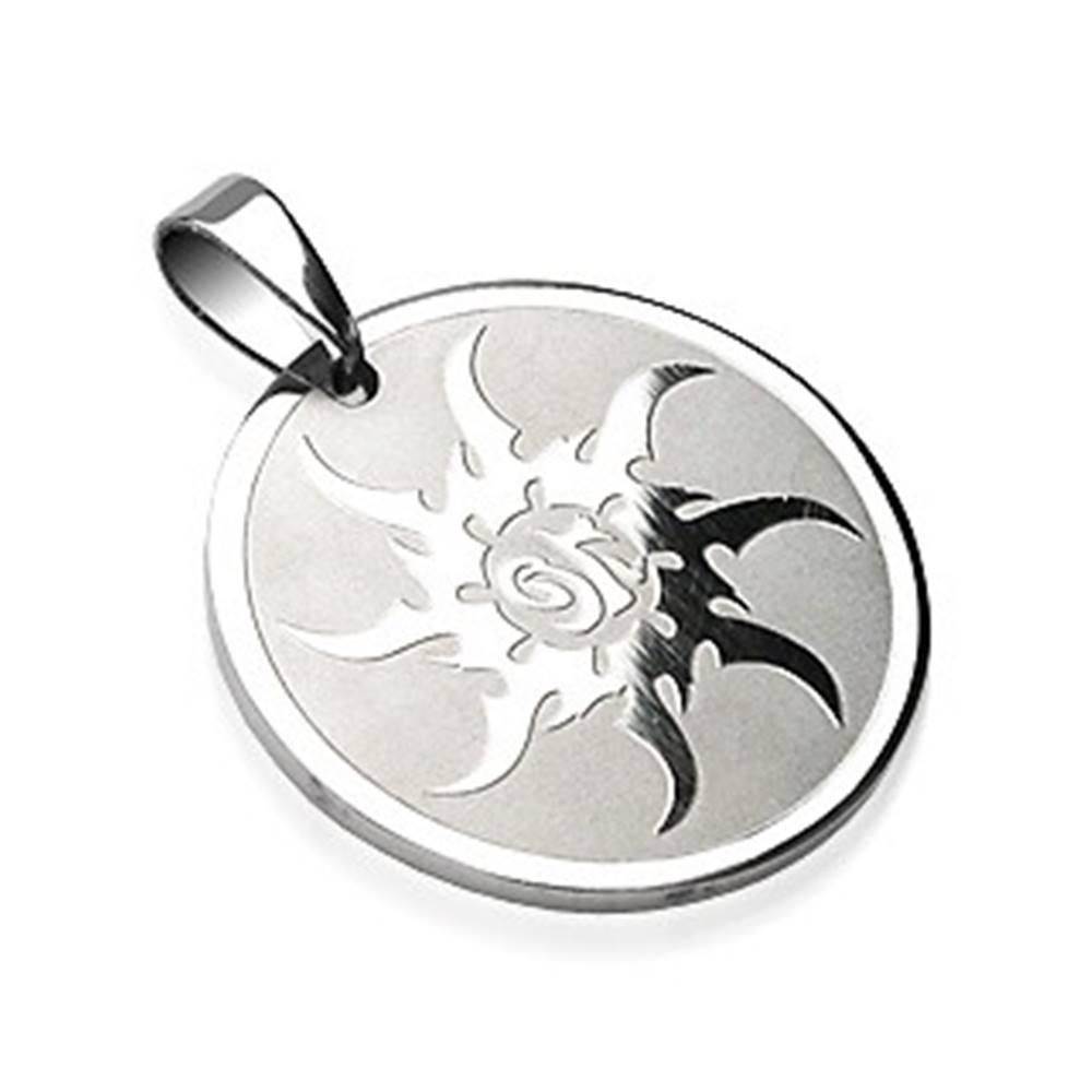 Šperky eshop Oceľový prívesok kruh so vzorom ostrého slniečka