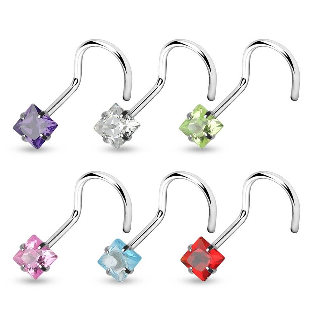 Šperky eshop Piercing do nosa zahnutý so štvorčekom - Rozmer: 0,8 mm x 6 mm x 3 mm, Farba piercing: Aqua