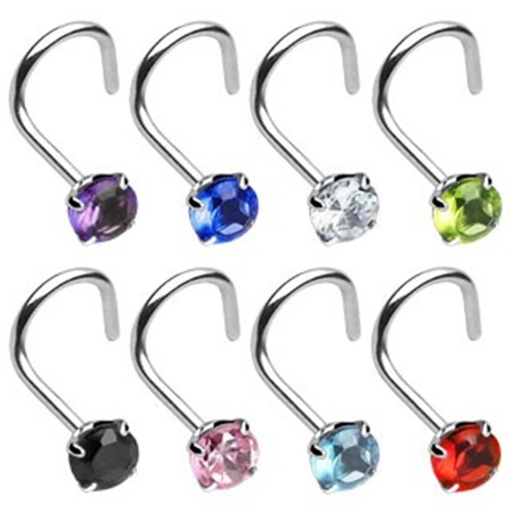 Šperky eshop Piercing do nosa zahnutý so zirkónikom - Hrúbka piercingu: 0,8 mm, Farba piercing: Červená