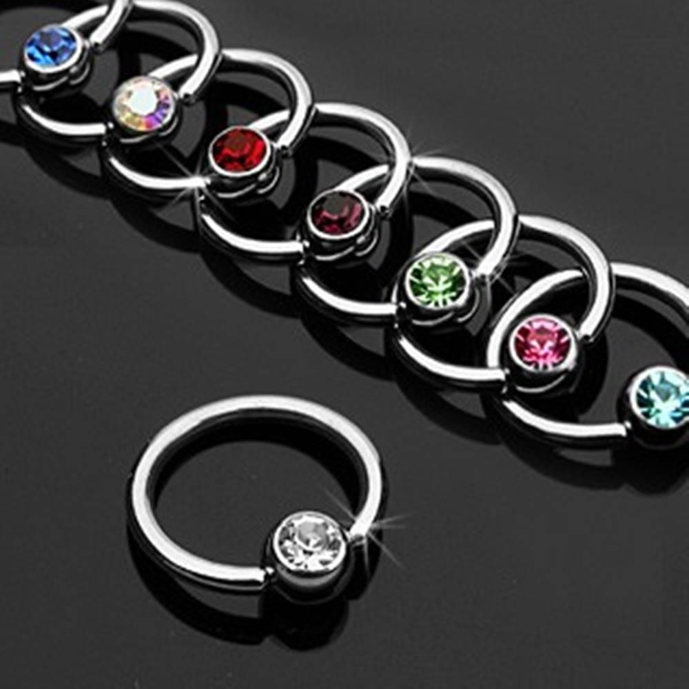 Šperky eshop Piercing krúžok s farebným zirkónom - Rozmer: 1,2 mm x 10 mm, Farba zirkónu: Svetlo zelená - G