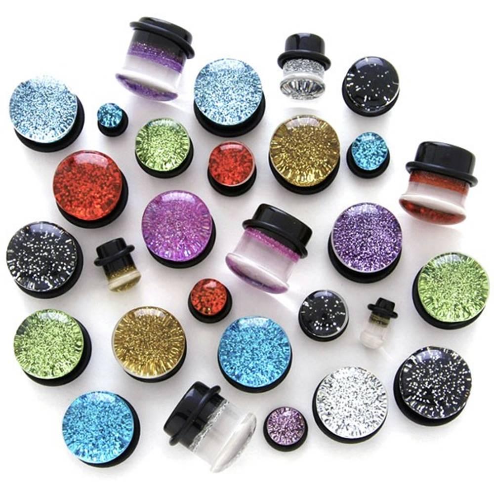 Šperky eshop Plug do ucha - priehľadný s trblietkami - Hrúbka: 10 mm, Farba piercing: Svetlo Modrá