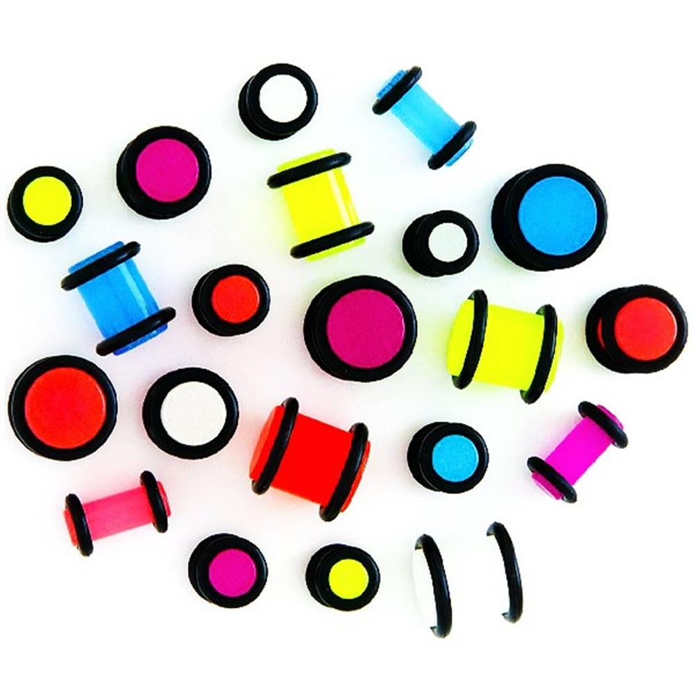 Šperky eshop Plug do ucha - žiariaci v tme, čierne gumičky - Hrúbka: 1 mm, Farba piercing: Neónová zelená