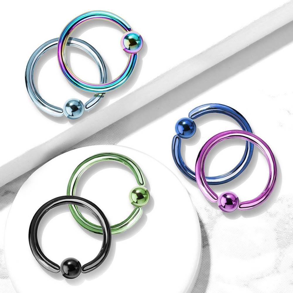 Šperky eshop Titánový piercing - krúžok s lesklou guličkou uprostred - Hrúbka piercingu: 1,2 mm, Farba zirkónu: Svetlo zelená - G