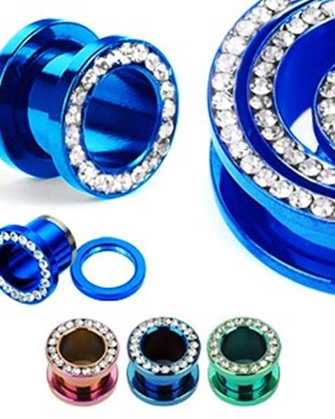 Šperky eshop Farebný anodizovaný tunel do ucha z titánu so zirkónmi v kruhu - Hrúbka: 10 mm, Farba piercing: Fialová