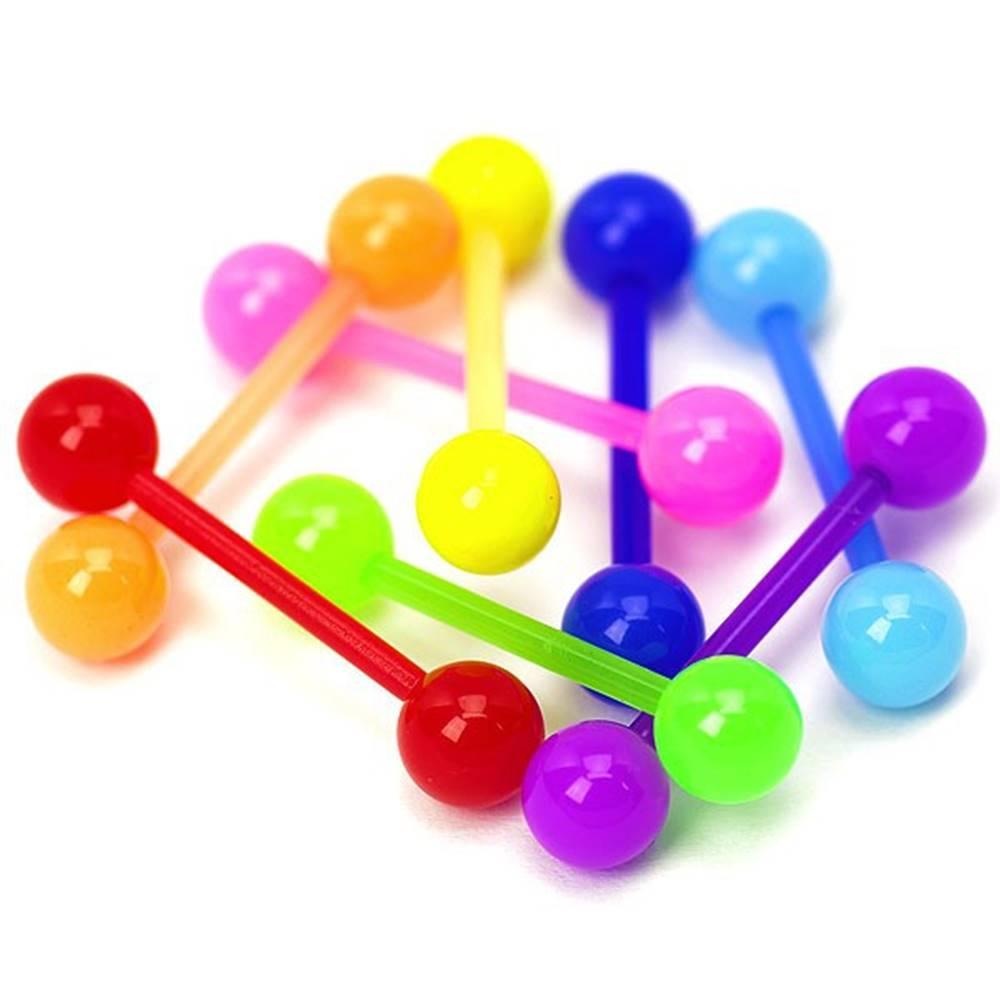 Šperky eshop Akrylový piercing do jazyka, rôzne farby, lesklý - Rozmer: 16 mm x 5 mm, Farba piercing: Modrá