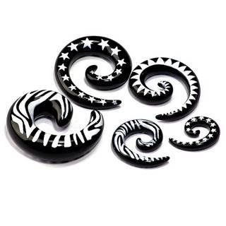 Expander do ucha - tvar čierny slimáčik, biely vzor - Hrúbka: 3 mm, Tvar hlavičky: Zebra