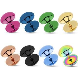 Falošný oceľový plug do ucha - vypuklé kruhy - Hrúbka: 8 mm, Farba piercing: Fialová