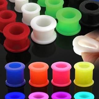 Farebný silikónový tunel do ucha so zvýšenými okrajmi - Hrúbka: 10 mm, Farba piercing: Biela