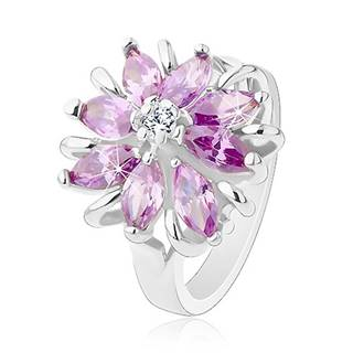 Lesklý prsteň, strieborný odtieň, ligotavý kvet z farebných zrniečkových zirkónov - Veľkosť: 49 mm, Farba: Ružová