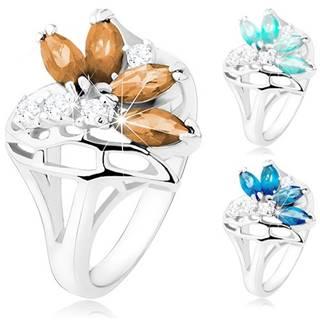 Ligotavý prsteň s rozdelenými ramenami, číre a farebné zirkóny, stuha - Veľkosť: 51 mm, Farba: Modrá svetlá
