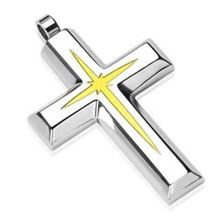 Oceľový prívesok - kríž s vnútorným menším krížikom zlatej farby