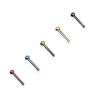 Piercing do nosa z chirurgickej ocele, rovný, mierne vypuklá hlavička - Hrúbka piercingu: 0,8 mm, Farba piercing: Čierna