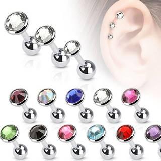 Piercing do ucha z chirurgickej ocele s okrúhlym zirkónom - Veľkosť hlavičky: 3 mm, Farba zirkónu: Fuksiová - F