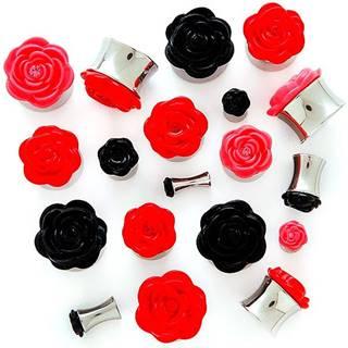 Plug do ucha s plastickou ružičkou - Hrúbka: 10 mm, Farba piercing: Čierna