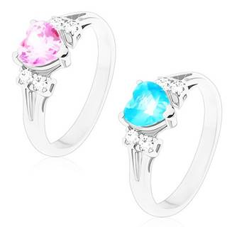 Prsteň so strieborným odtieňom, brúsený zirkón s čírymi zirkónikmi po stranách - Veľkosť: 48 mm, Farba: Ružová