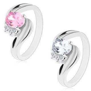 Prsteň so zvlnenými ramenami a zárezom, zirkónový ovál, číre zirkóniky - Veľkosť: 55 mm, Farba: Ružová
