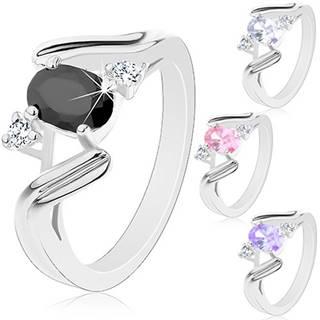 Prsteň v striebornom odtieni, zvlnené ramená so zárezom, farebný ovál - Veľkosť: 52 mm, Farba: Ružová
