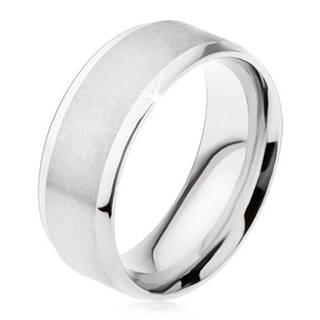 Prsteň z ocele 316L, matný stredový pás, lesklé šikmé okraje - Veľkosť: 56 mm