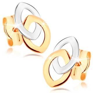 Puzetové náušnice z 9K zlata - dve prepojené kontúry zrnka, dvojfarebné
