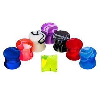 Sedlový plug do ucha - farebný mramorový vzor - Hrúbka: 10 mm, Farba piercing: Ružová