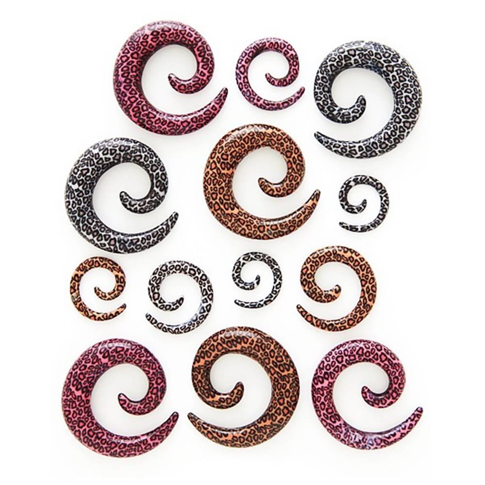 Šperky eshop Expander do ucha - špirála, vzor leopard - Hrúbka: 10 mm, Farba: Hnedá