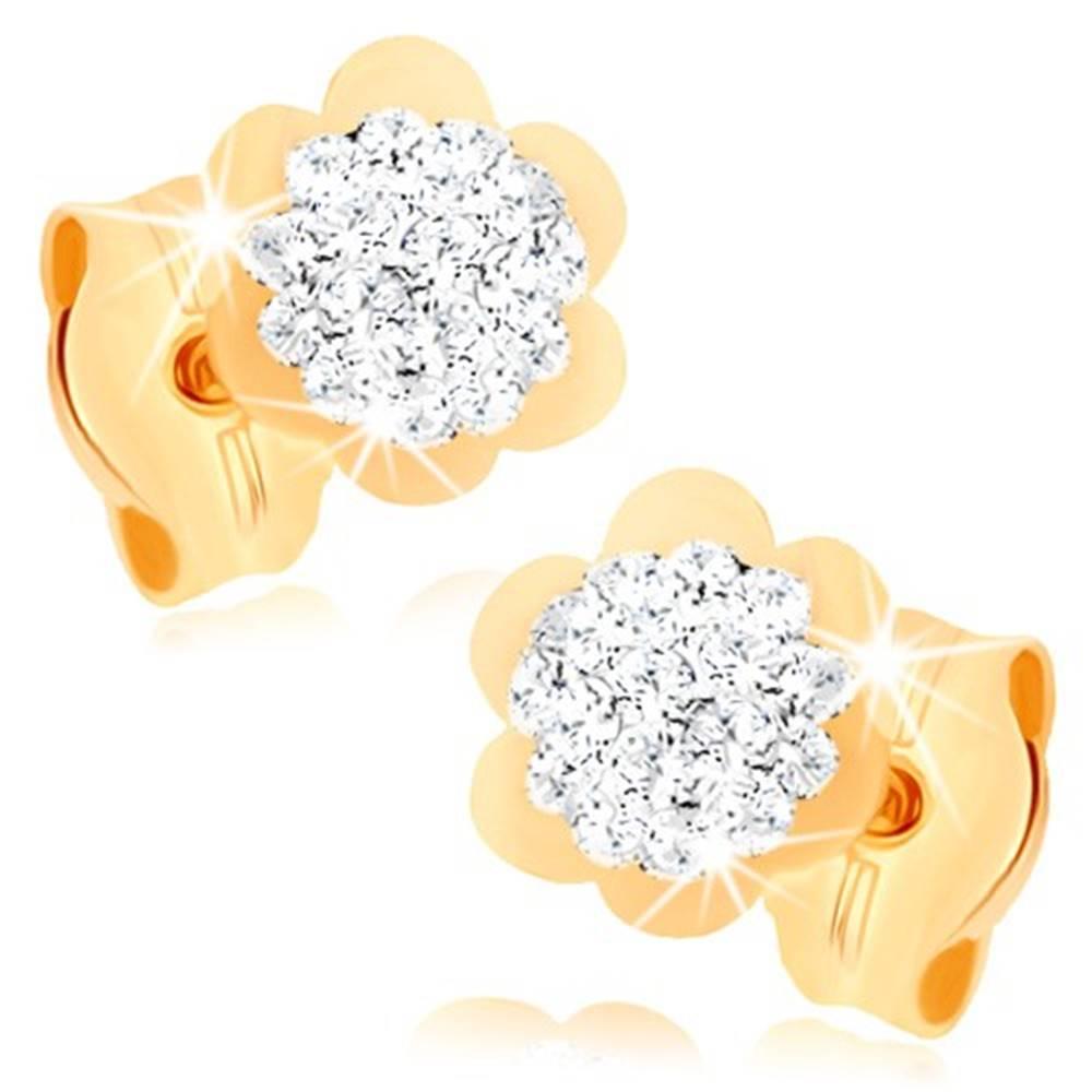 Šperky eshop Náušnice v žltom 9K zlate - trblietavý kvietok s lesklým lemom, krištále Swarovski