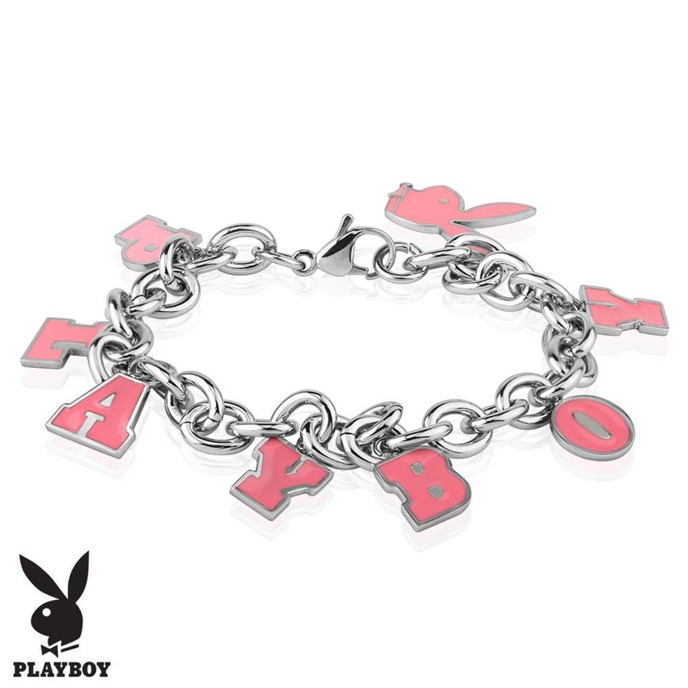Šperky eshop Oceľový náramok striebornej farby, ružové prívesky - zajačik a nápis PLAYBOY