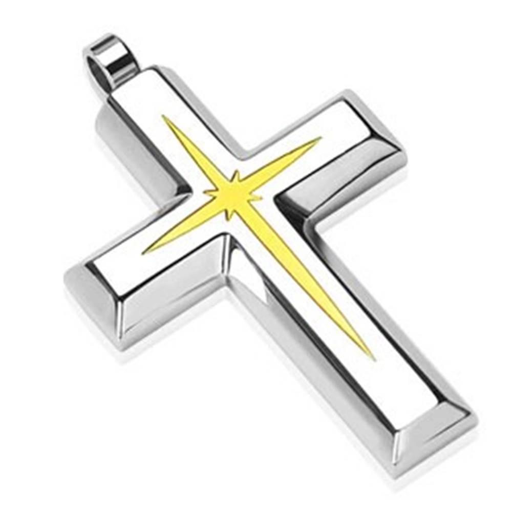 Šperky eshop Oceľový prívesok - kríž s vnútorným menším krížikom zlatej farby