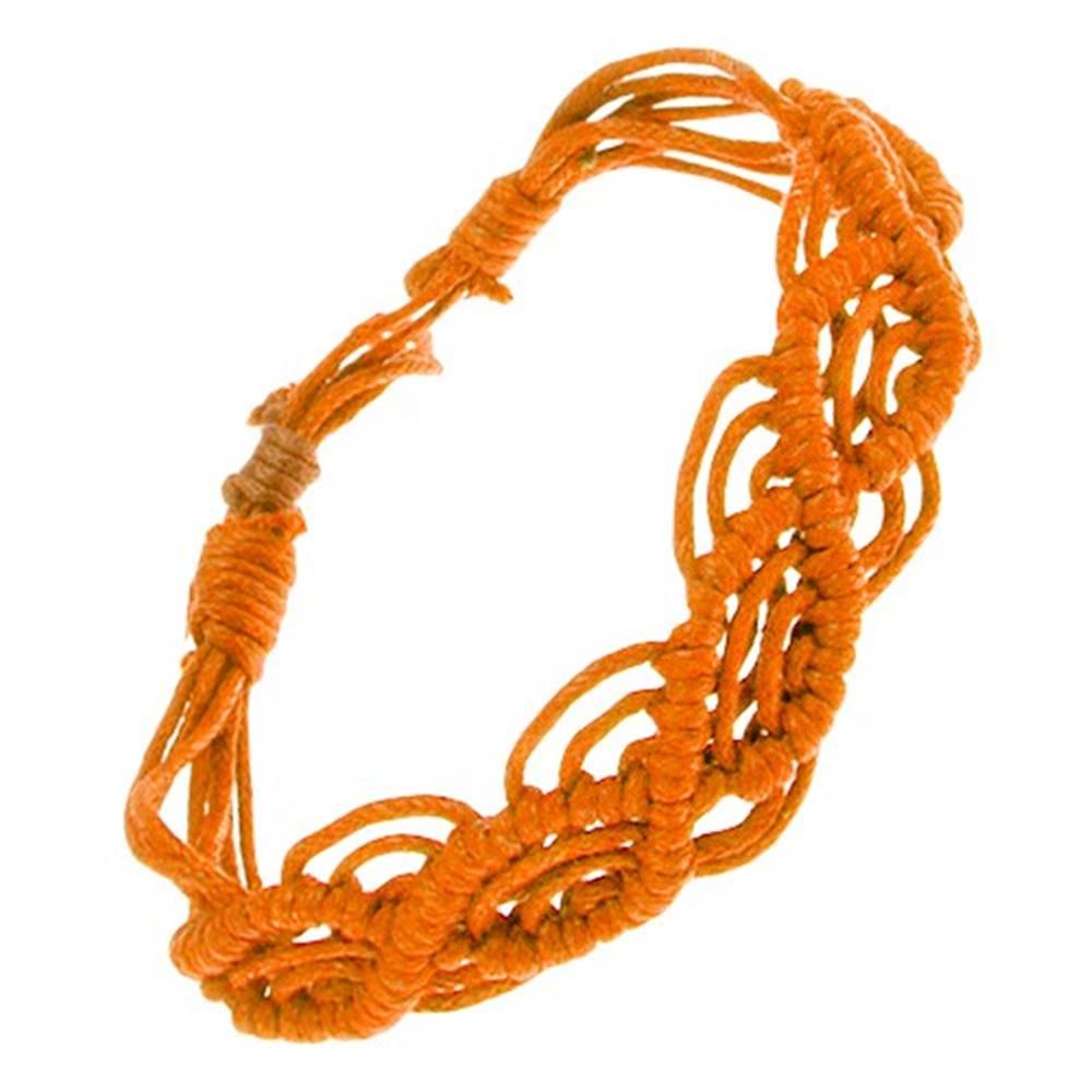 Šperky eshop Oranžový náramok zo šnúrok, vlnkový vzor