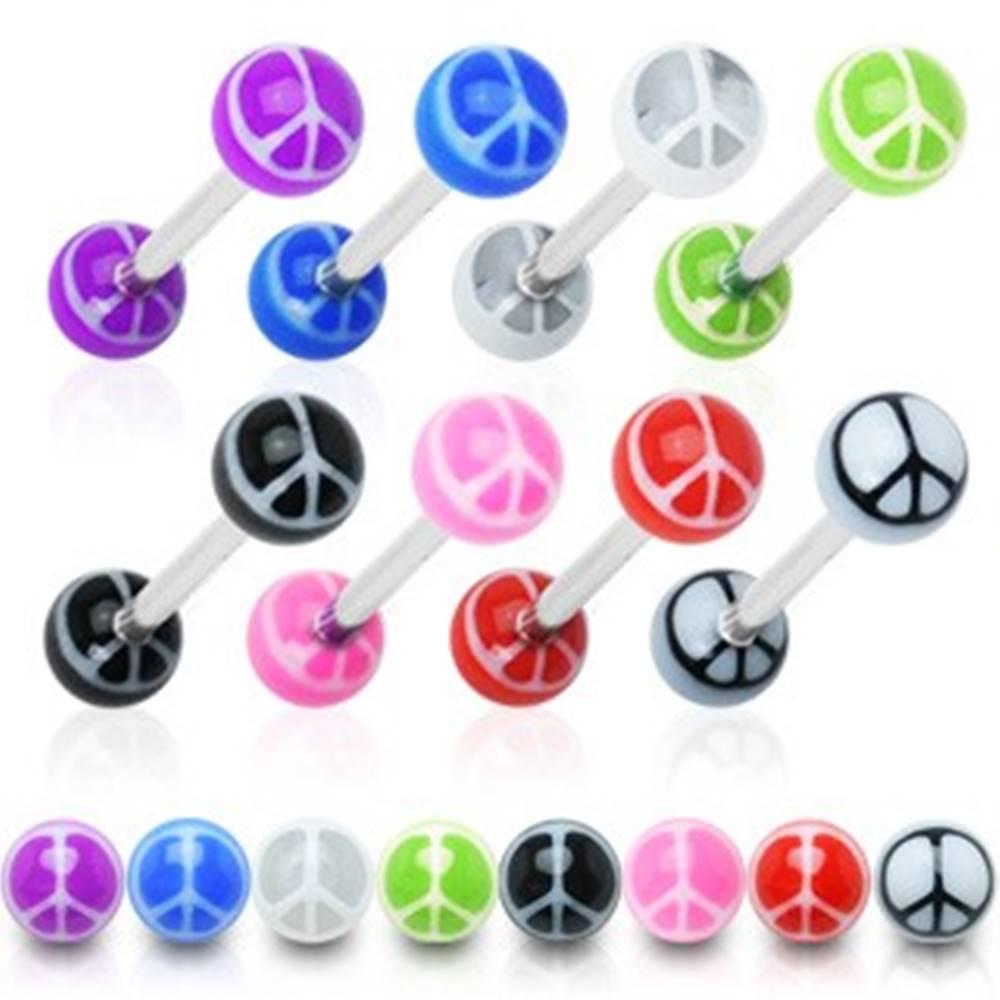 Šperky eshop Piercing do jazyka - farebné guličky, symbol mieru - Rozmer: 1,4 mm x 15 mm x 6 mm, Farba piercing: Biela - Čierna