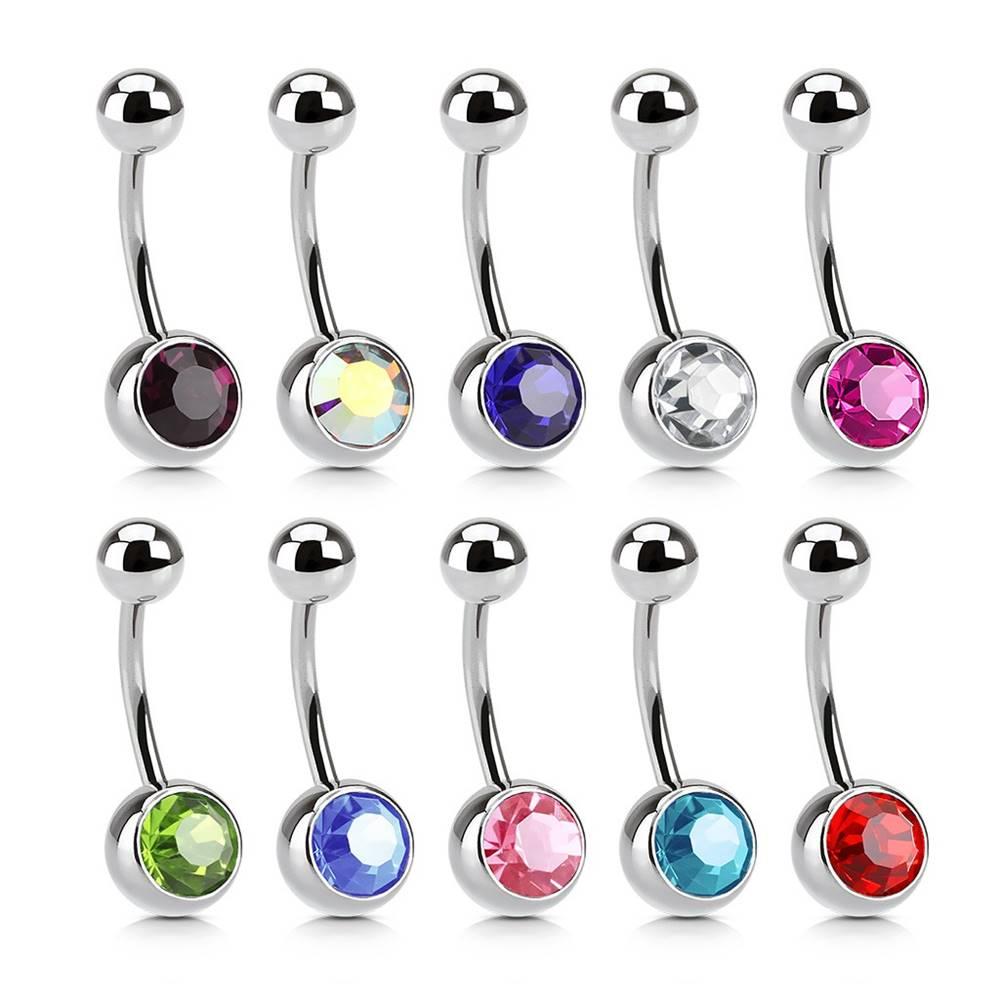 Šperky eshop Piercing do pupka z ocele - veľký trblietavý zirkón - Farba zirkónu: Aqua modrá - Q