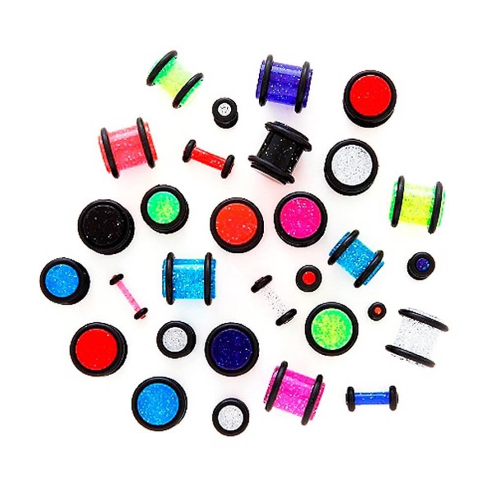 Šperky eshop Piercing do ucha - neónový trblietavý plug - Hrúbka: 1,5 mm, Farba: Čierna