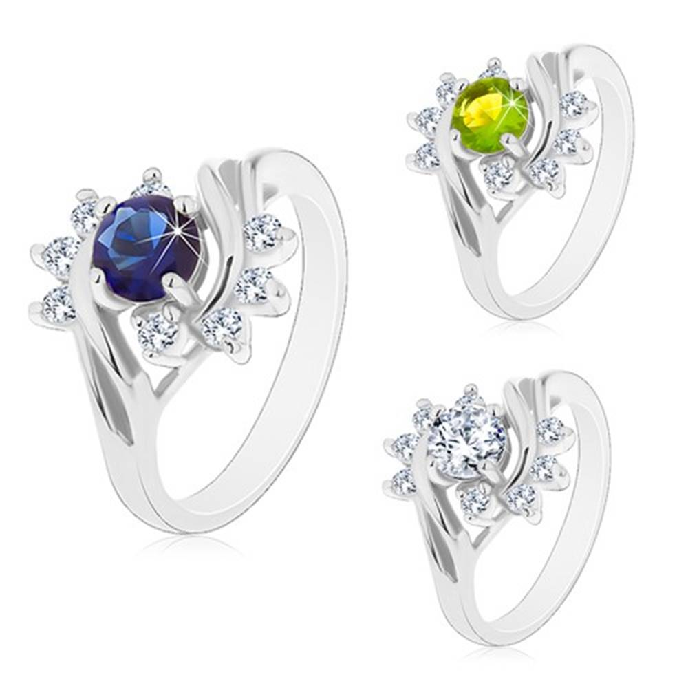 Šperky eshop Prsteň s lesklými ramenami v striebornom odtieni, farebný zirkón, číre oblúky - Veľkosť: 49 mm, Farba: Zelená