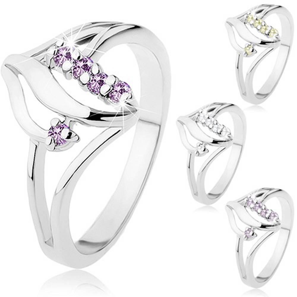Šperky eshop Prsteň v striebornom odtieni, dve lesklé vlnky, trblietavé zirkóny - Veľkosť: 48 mm, Farba: Fialová svetlá